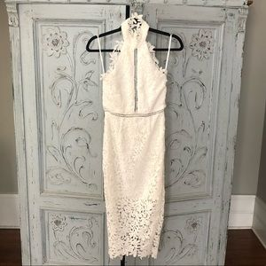 White high neck floral lace dress